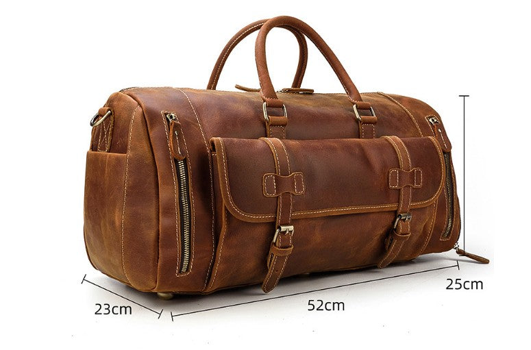 brown leather weekend luggage bag for travel