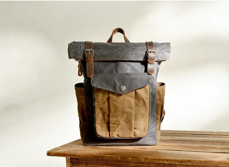 Designer waxed canvas backpack purse for school