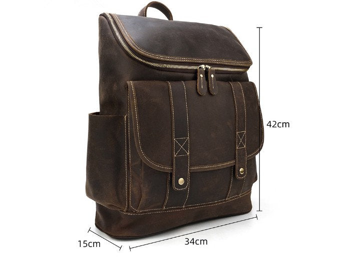 brown leather work backpack purse