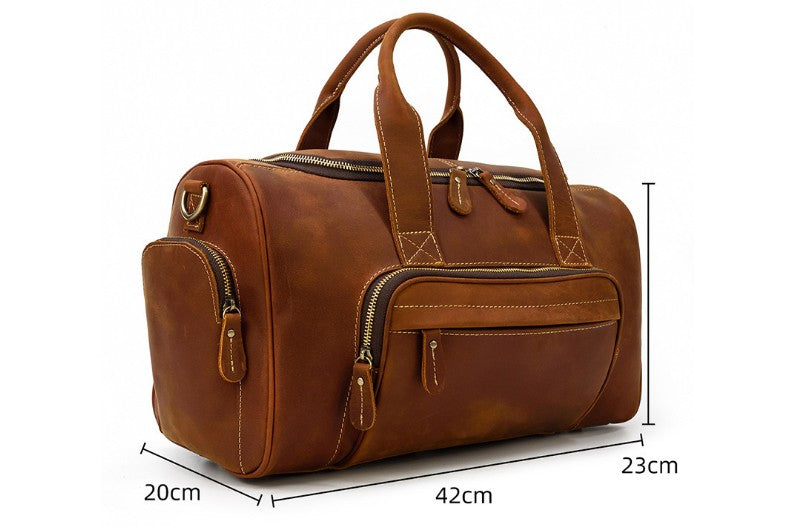 mens leather travel luggage bag duffel for weekend