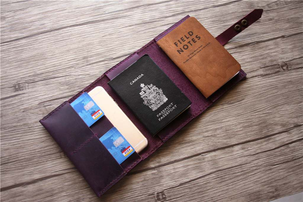 Monogrammed Passport Cover Leather Wallet