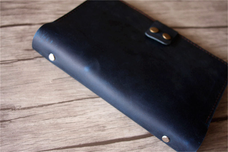 blue leather daily planner