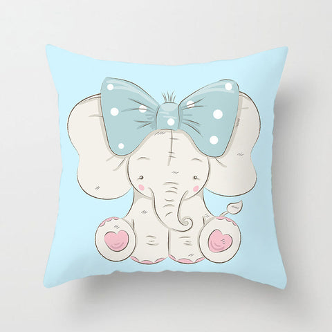 Cute Elephant With Tie Pattern Pillowcase With Light Blue Background