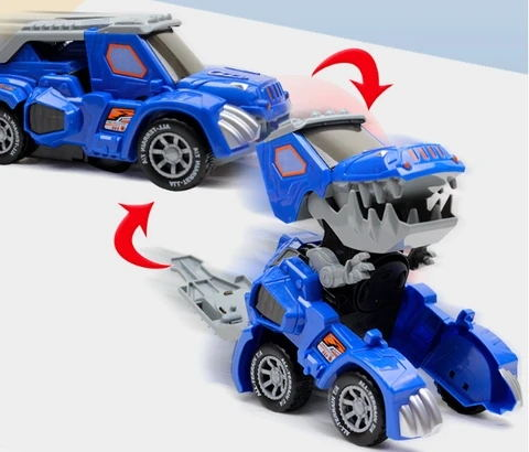 Blue Jeep Deformed Dinosaur Car