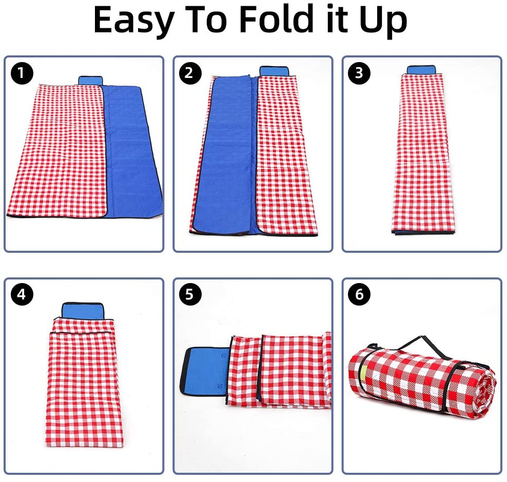 Picnic Blanket Waterproof Sandproof, Durable Oxford Folding Extra Large Picnic Mat for Outdoor Travel Beach Lawn Park, Portable