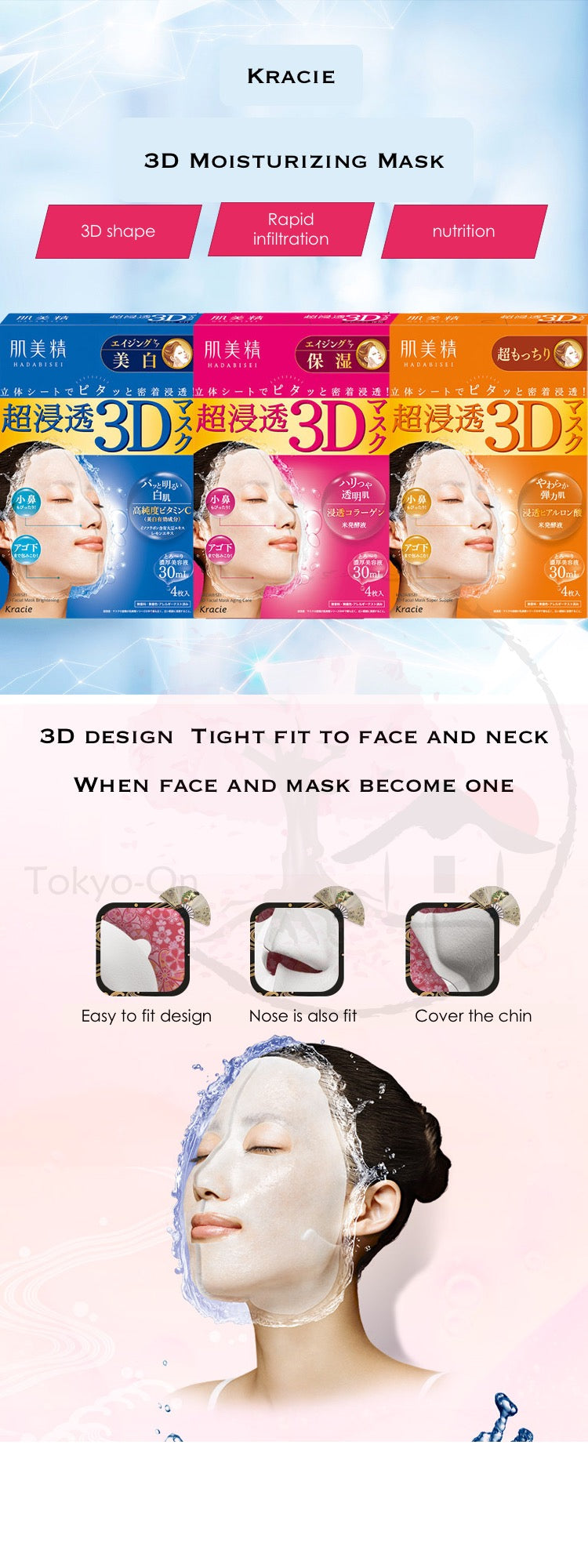 Tokyo-On Kracie Hadabisei Aging 3D Whitening Mask, 4 Sheets