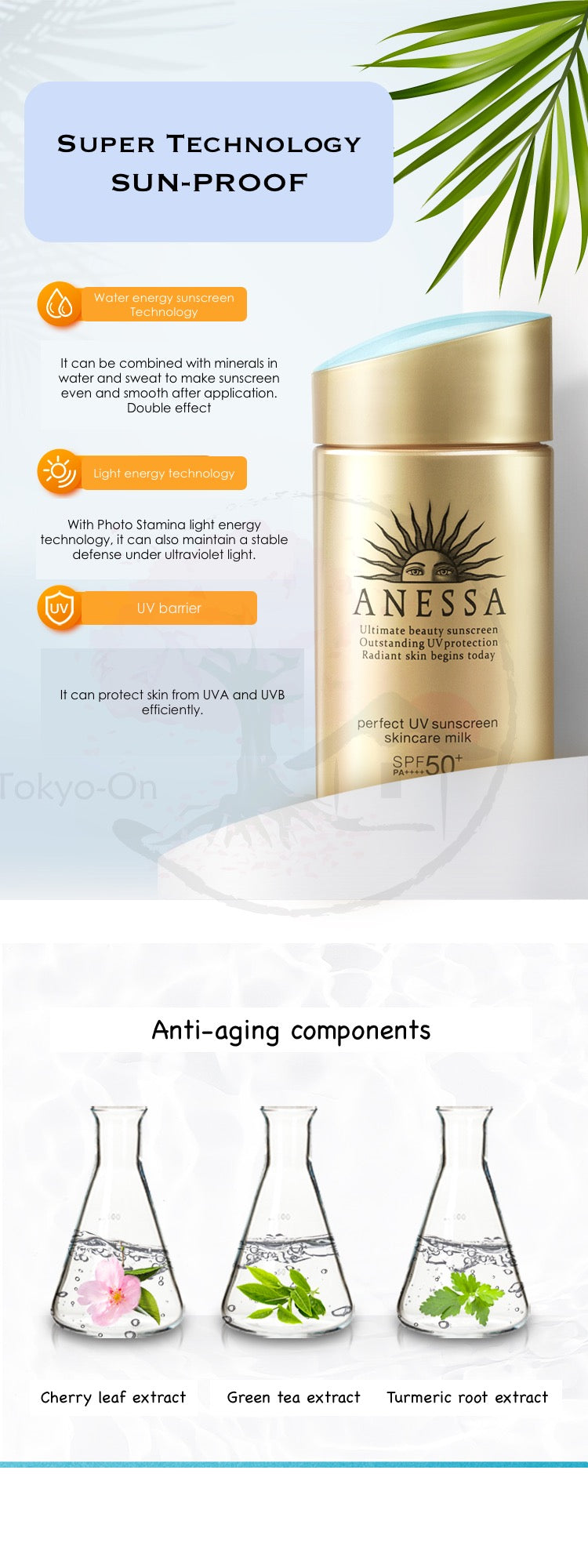 Tokyo-On Anessa Perfect UV Sunscreen Milk Skincare Shiseido SPF50+ PA++++ 60ml