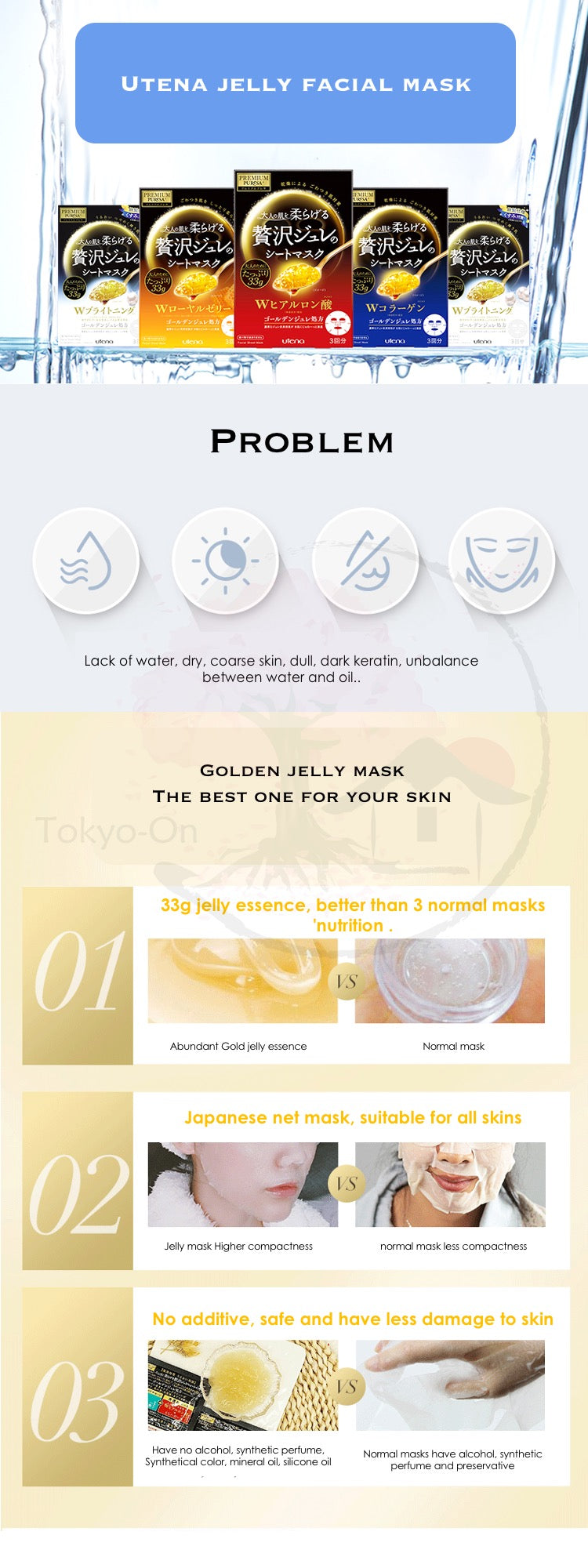 Tokyo-On Utena Premium Pure Collagen Jelly Facial Mask 3 sheets