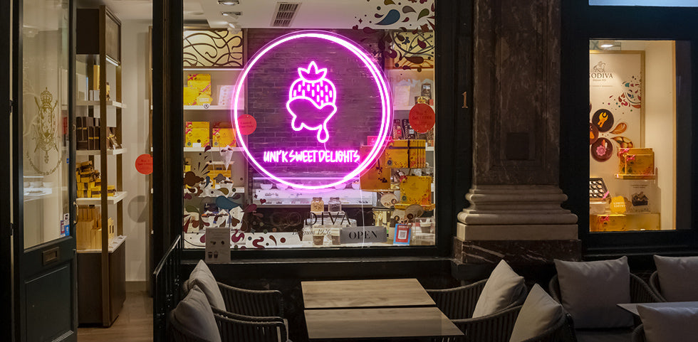 Sweet strawberry neon signs