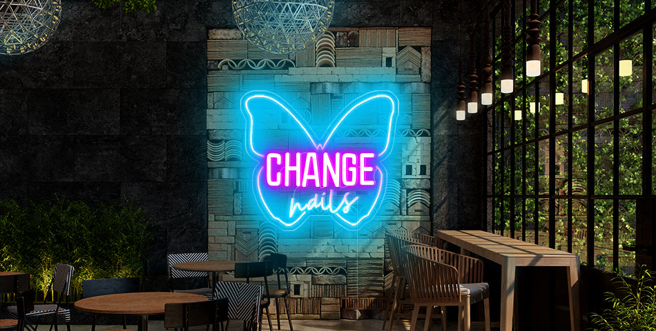 Butterfly design neon lights