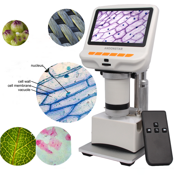Andonstar AD105S Digital Microscope 4.3-inch Display Slides Fabrics Observation Gift for Kids Biology Botanical Cells