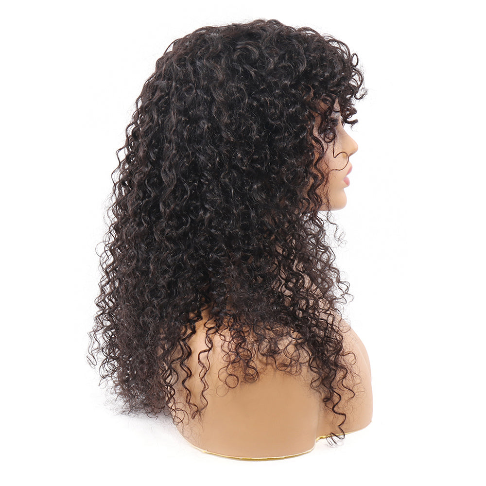 Curly Human Hair Wigs with Bangs