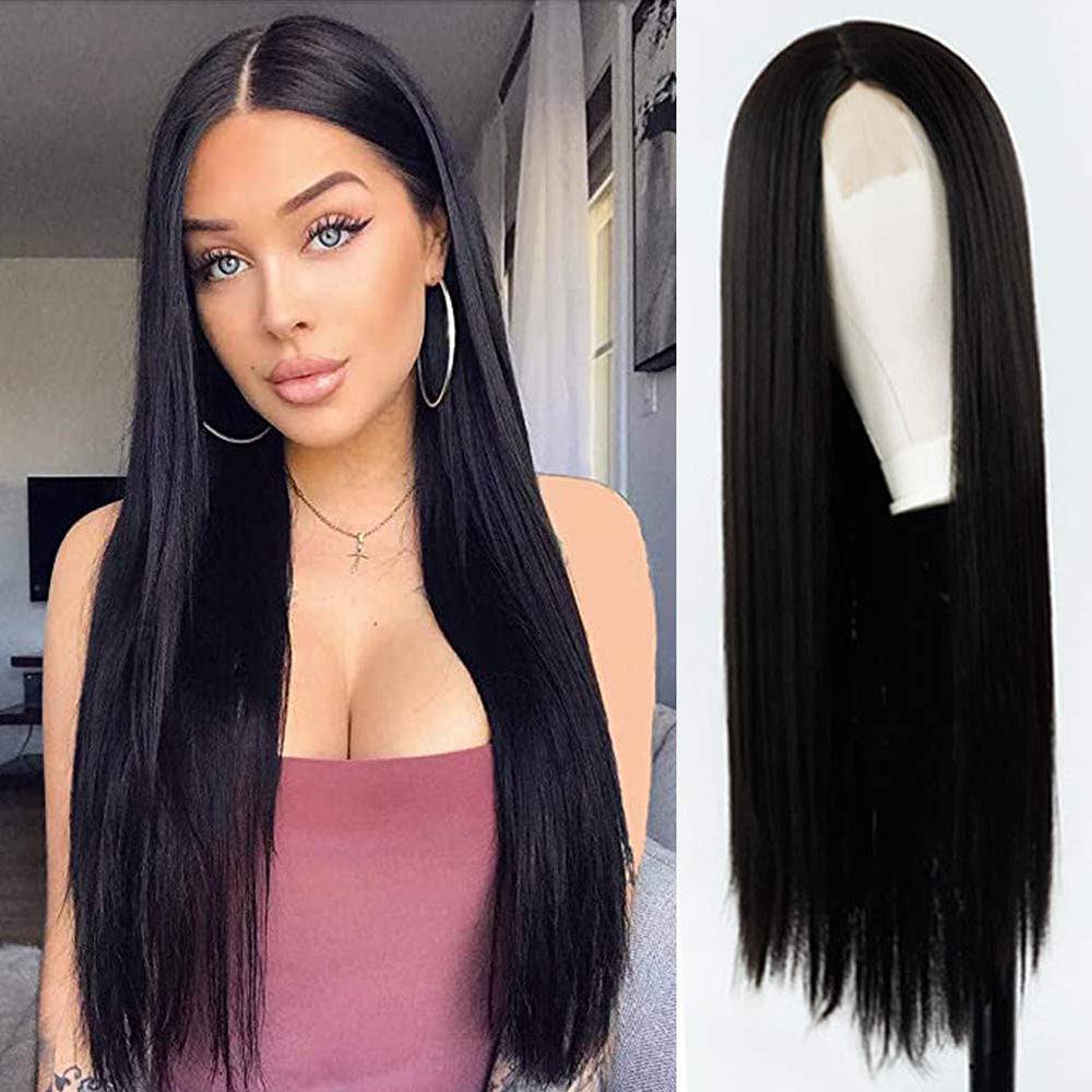 Long Straight Black Lace Frontal Wigs