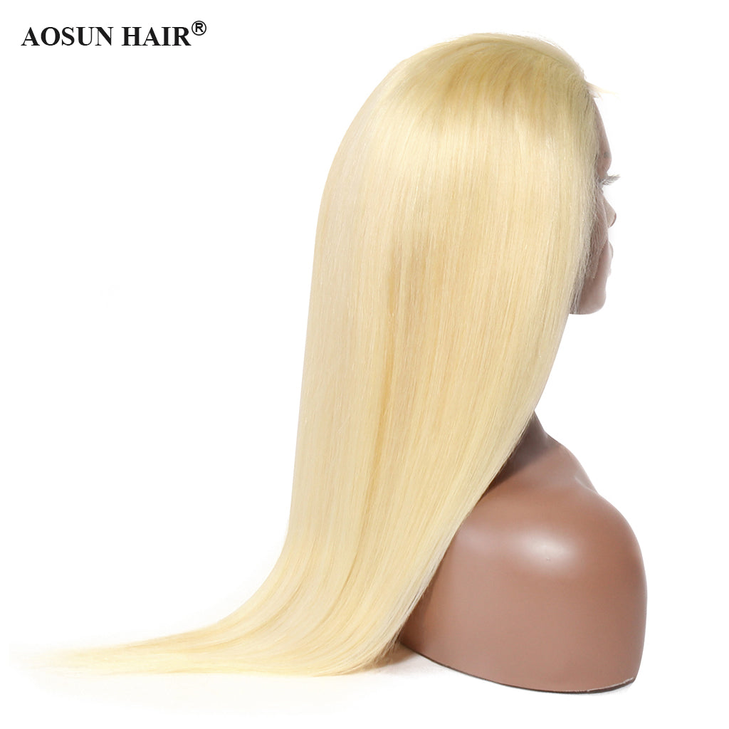 blonde straight front lace wig