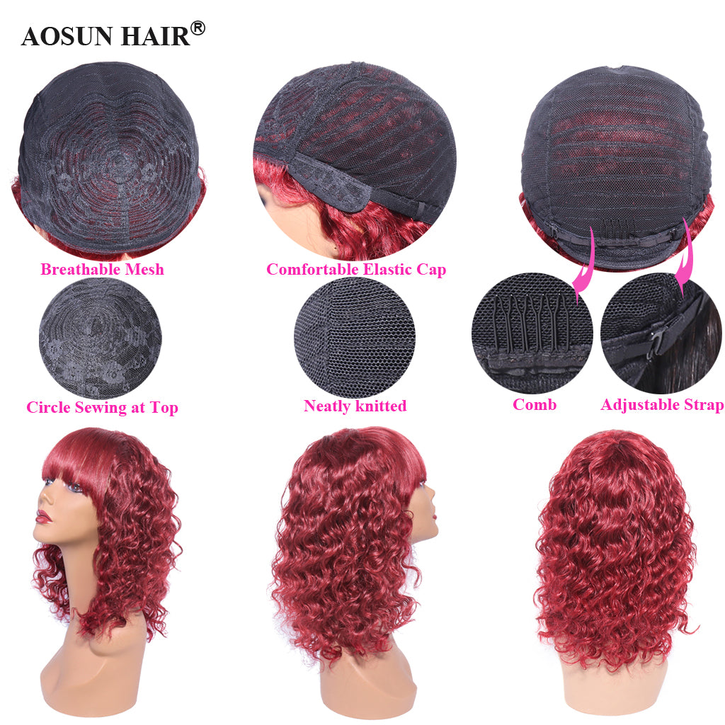 deep wave none lace wig human hair wigs