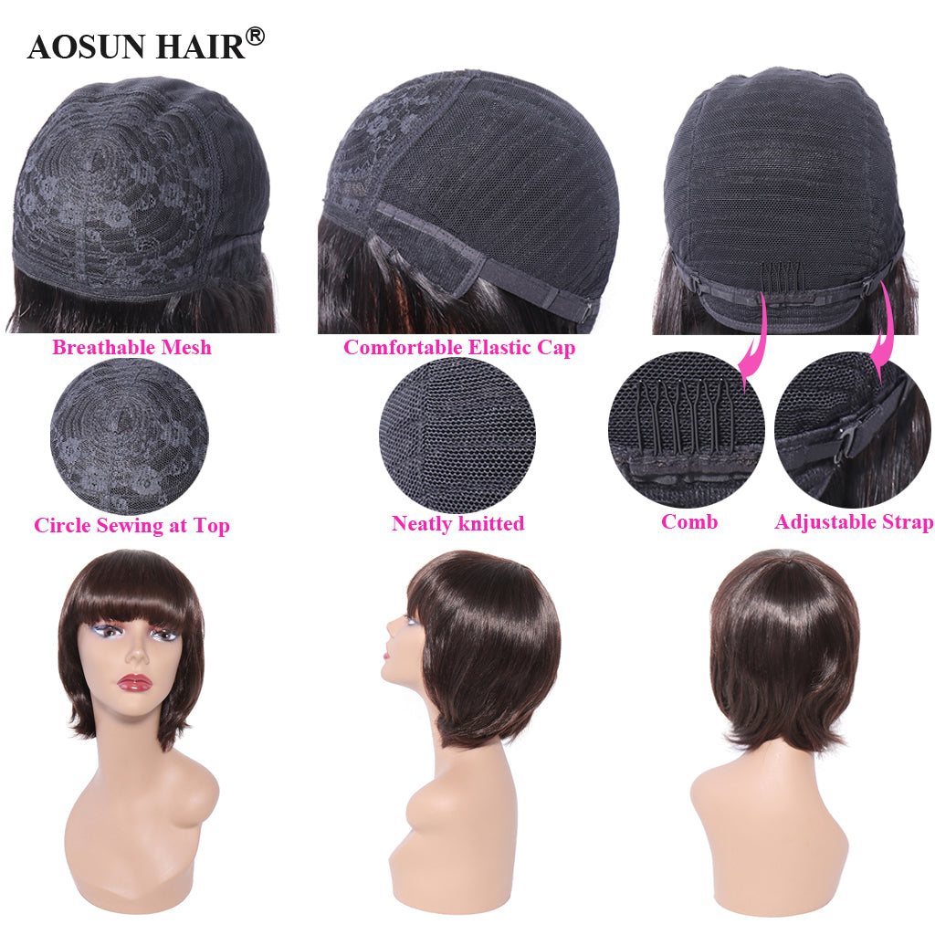 straight short wig with bangs