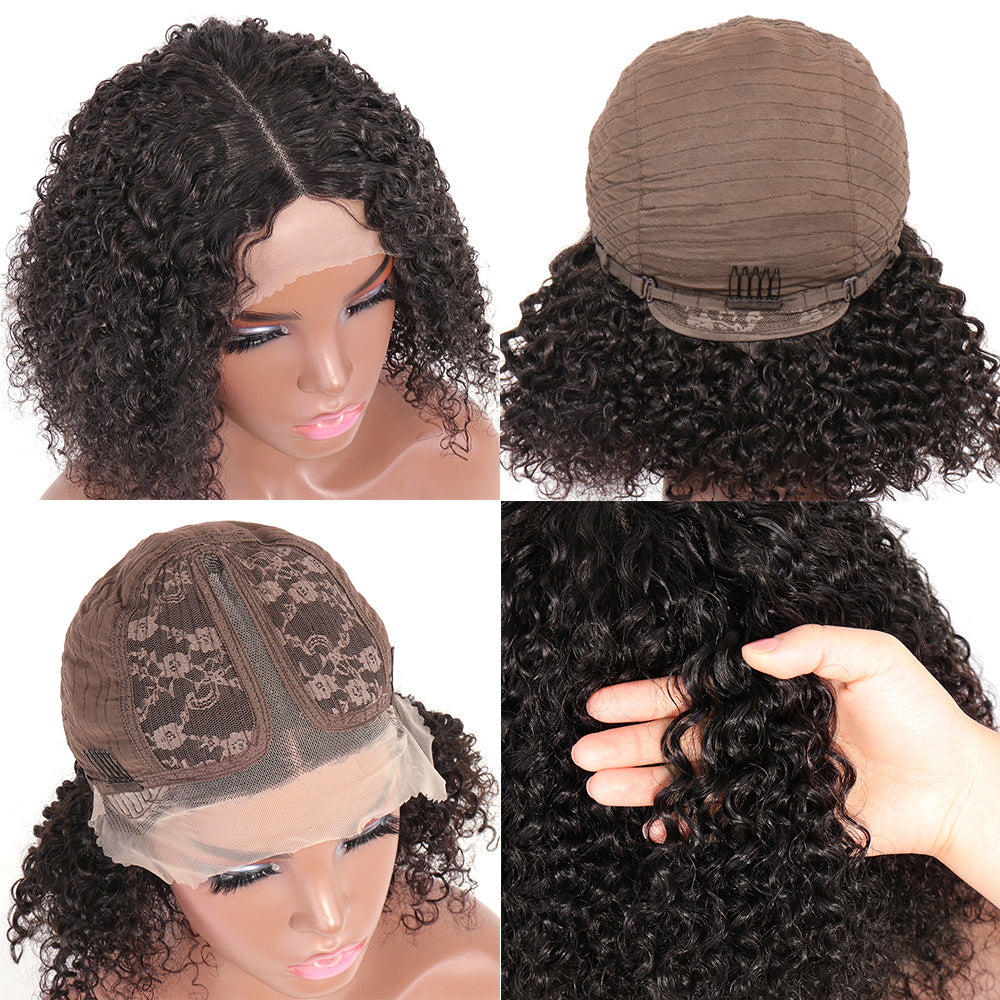 kinky curly t part lace bob wig