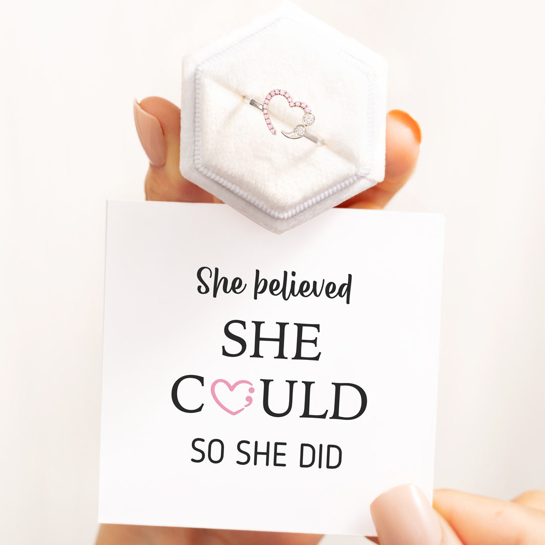 Semicolon Ring - She Believed She Could So She Did