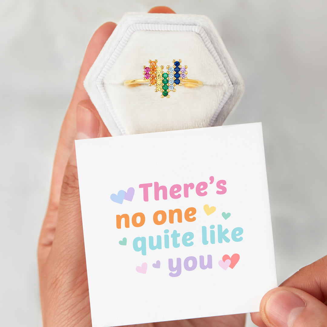 Rainbow Heart Ring - There's No One Quite Like You