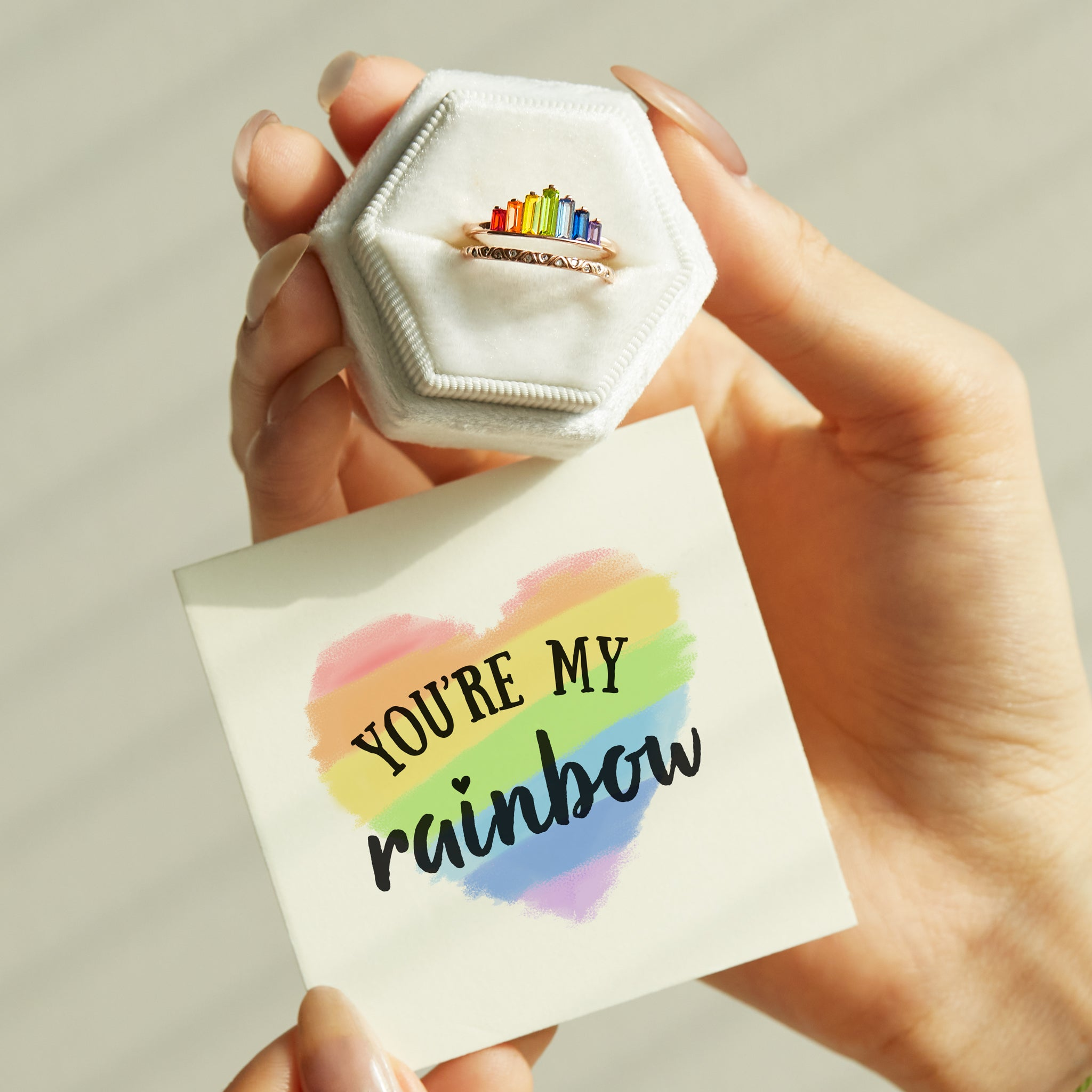 Double Band Ring - You're My Rainbow