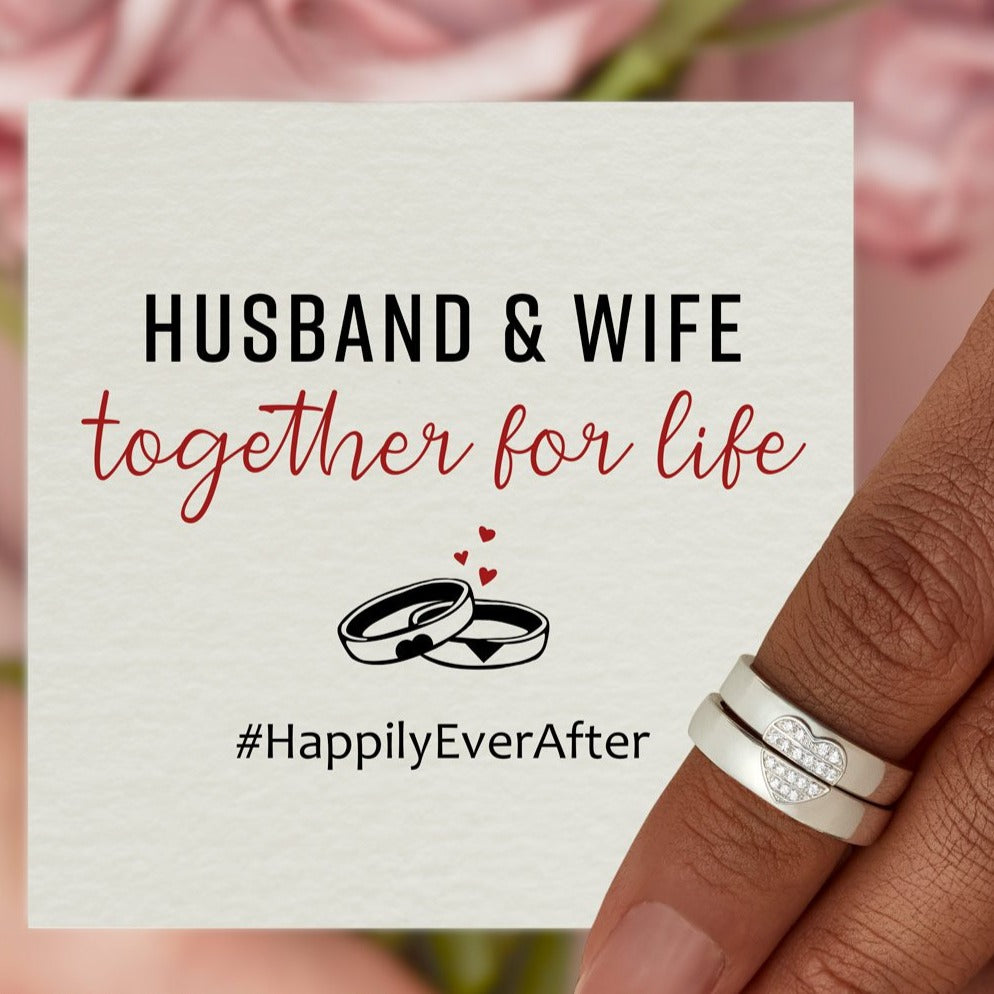 Heart Couple Ring Set-Husband & Wife Together For Life