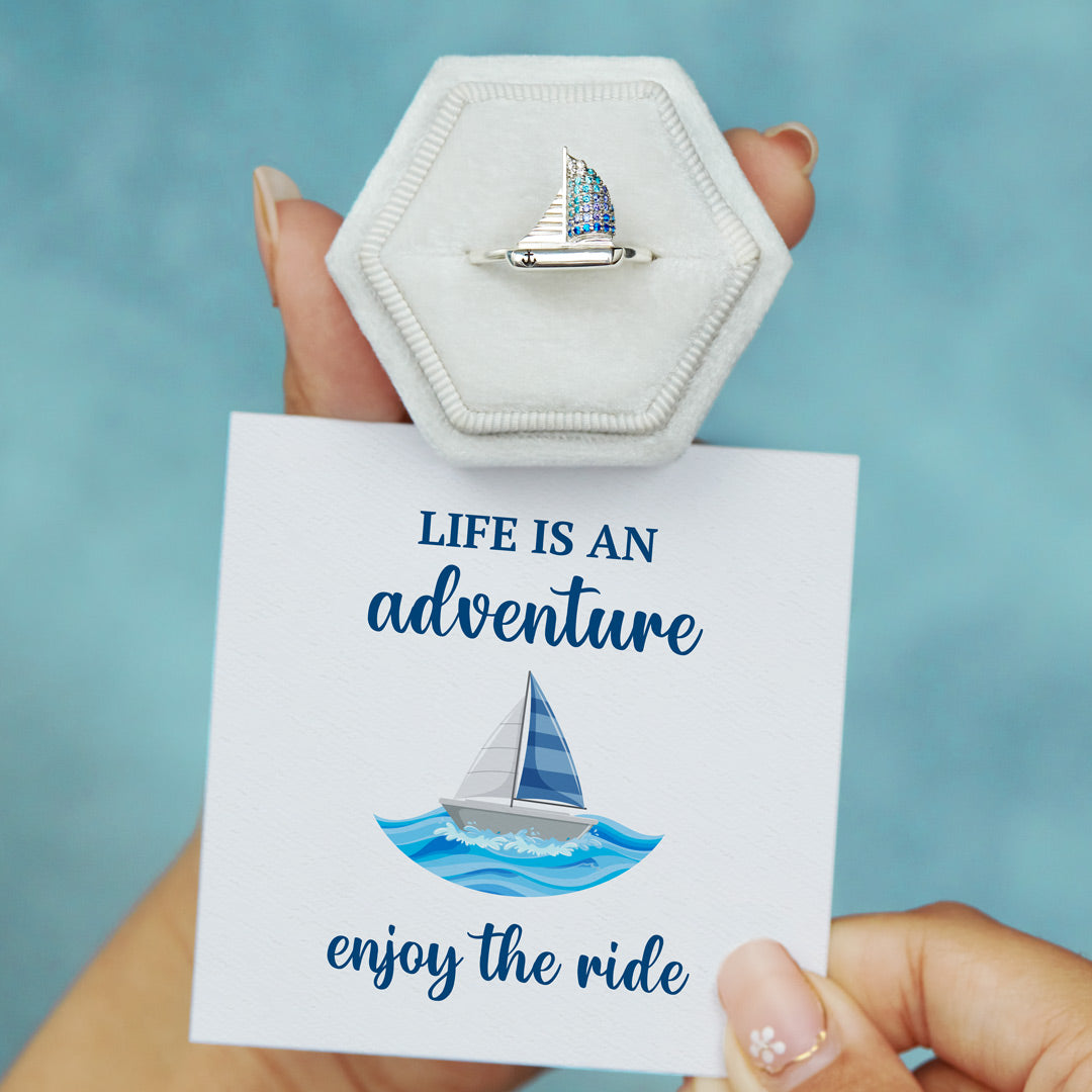 Sailing Ship Ring - Life Is An Adventure