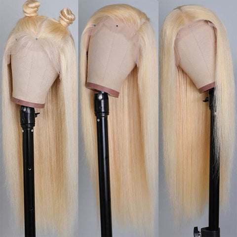 613 Blonde Straight Human Hair 4*4 Lace Closure Wigs