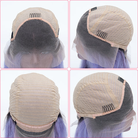 1B Lilac Color Bob Straight Hair Lace Frontal Wigs