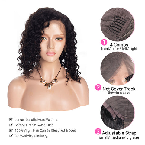 Short Wig Water Wave 13×4 Lace Front Wigs