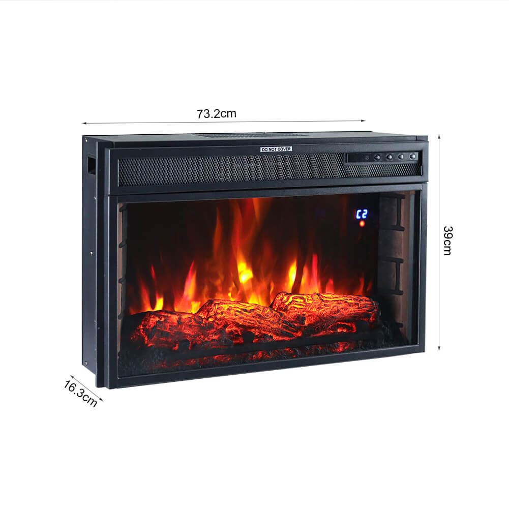 Inset Electric Fire Fireplace Living Room Wall Mounted Heater LED Flame w/Remote Wifi