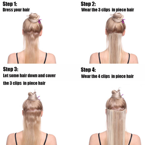How to wear the clips in hair extensions-step one
