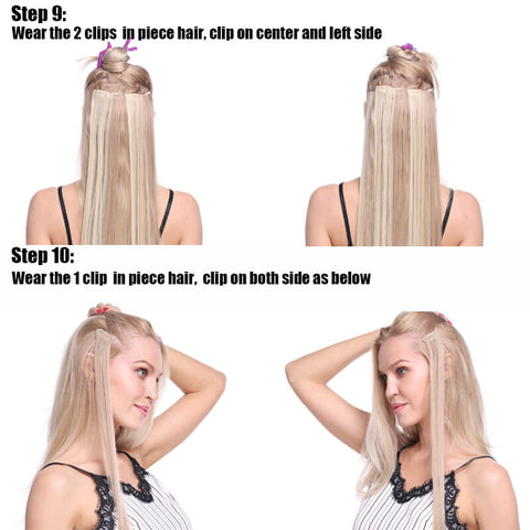 How to wear the clips in hair extensions-step three
