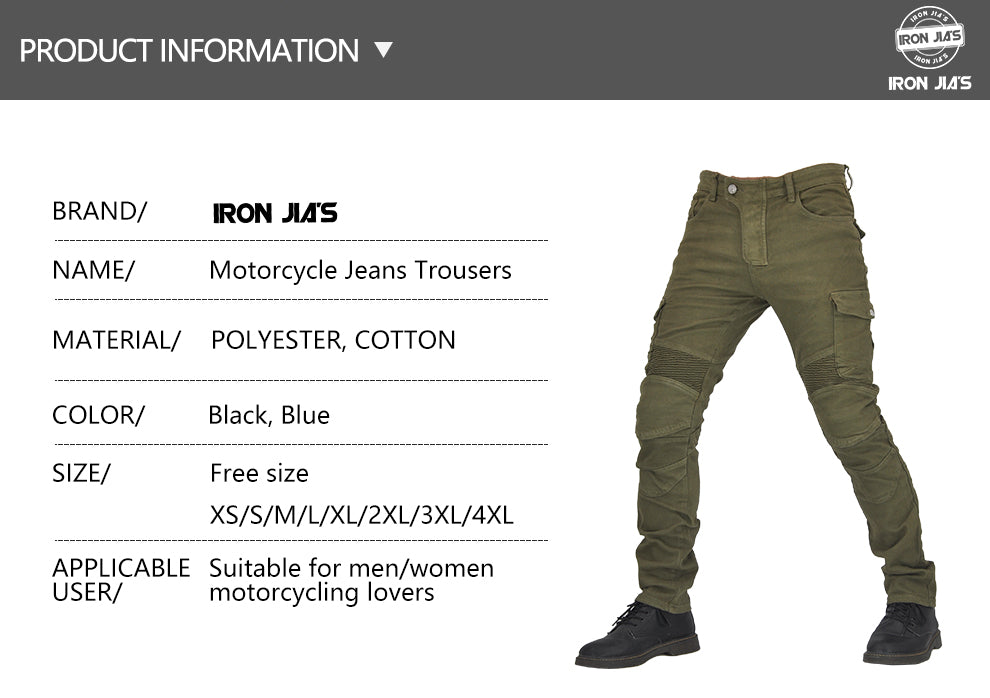 IRON JIA'S Men Motorcycle Pants Motocross Motorbike Riding With Span+Knee Pads Protective Gear Moto Jeans Trousers