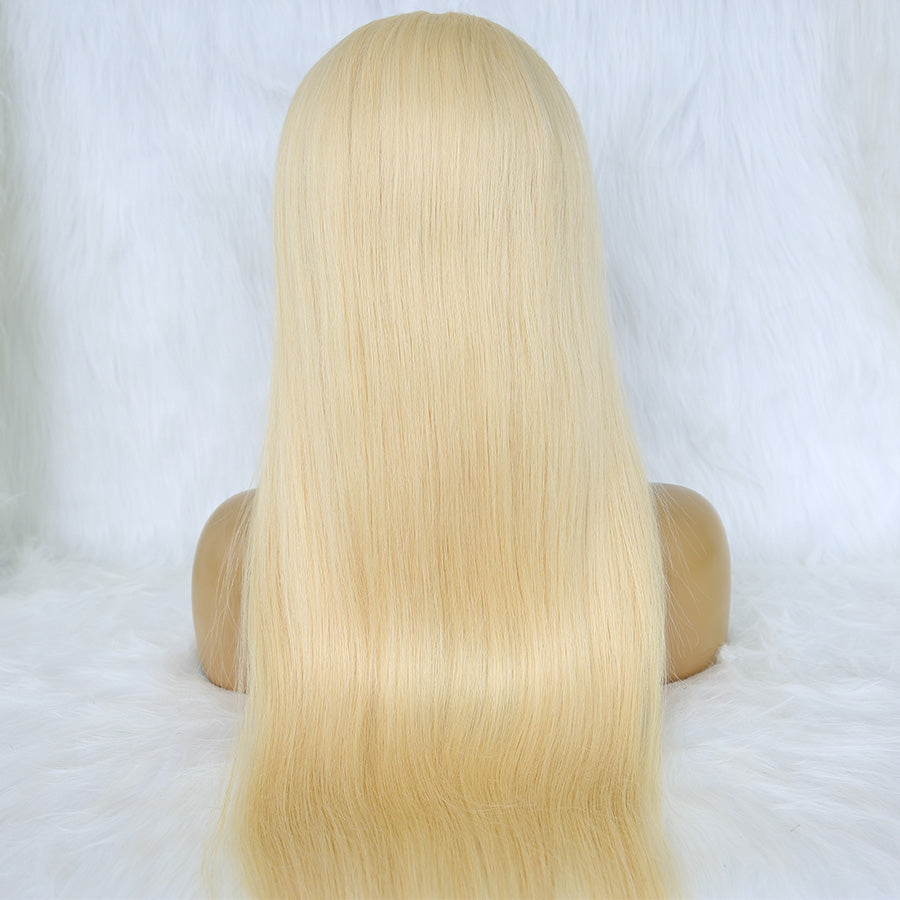 black look of a blonde full lace wig on mannequin