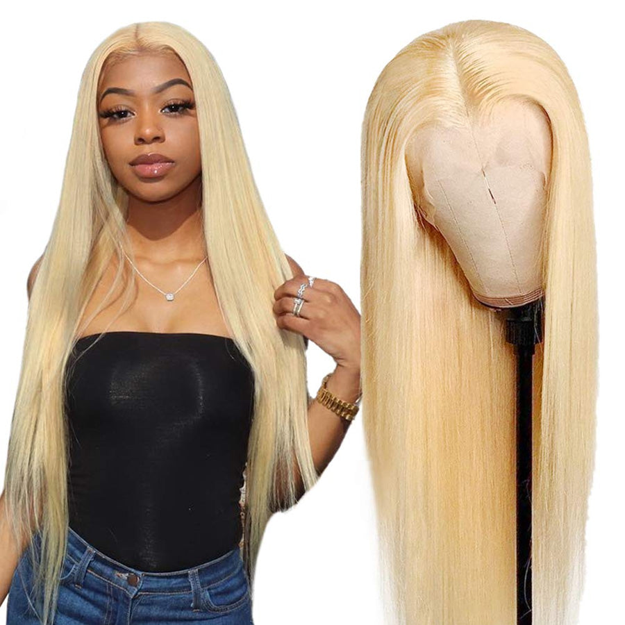 a woman with blonde human hair wig