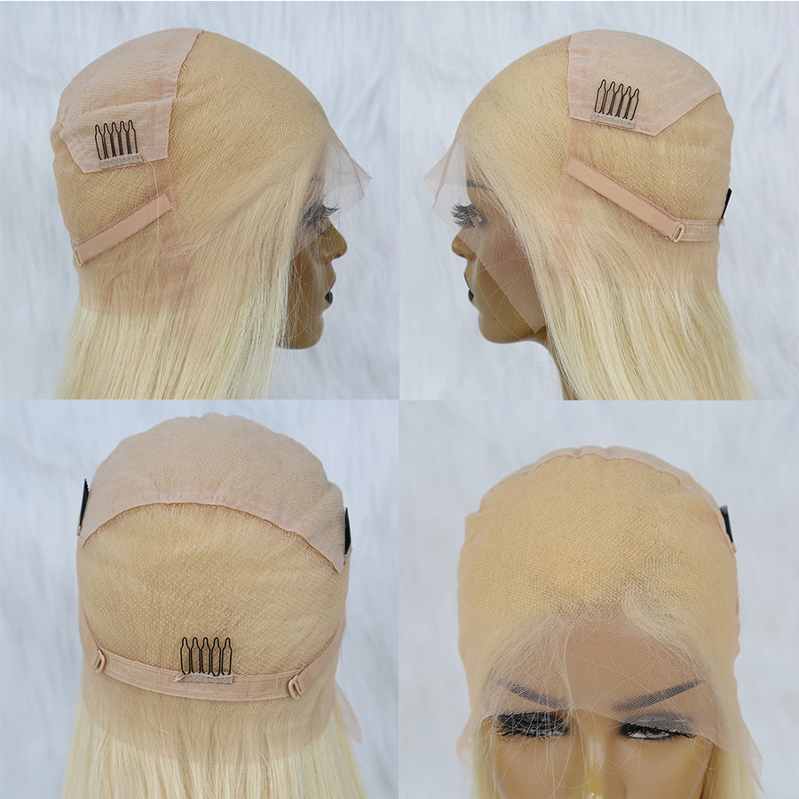 cap show of a blonde full lace wig