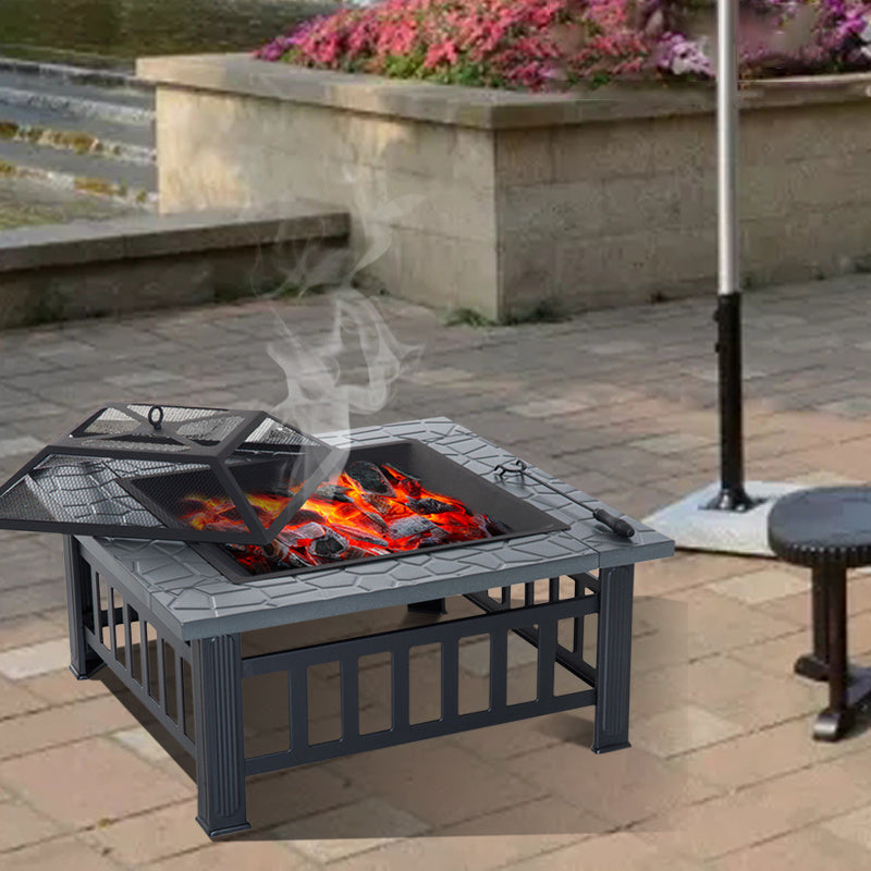 Square Steel Charcoal/Wood Burning Fire Pit BBQ Grill