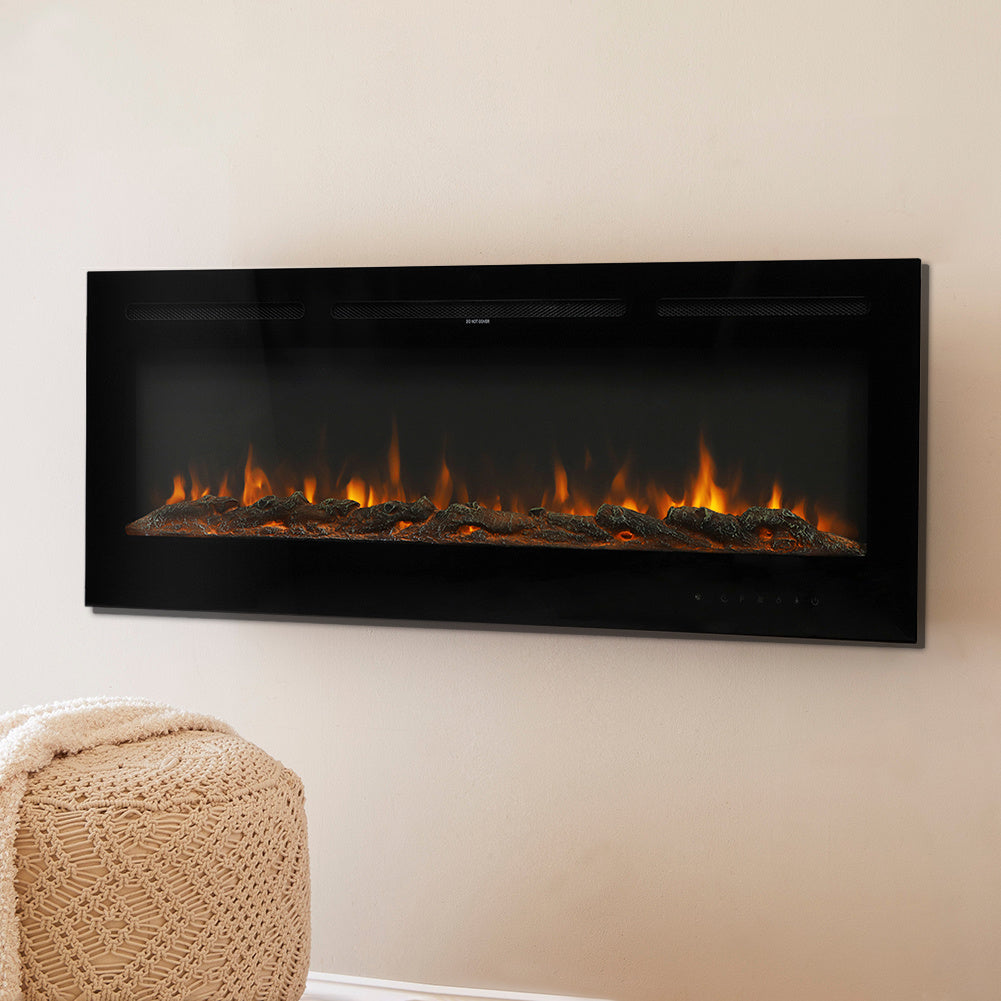 40 Inch Wall Mounted Electric Fireplace Log/Crystal Flame Warm Heater with Remote Control