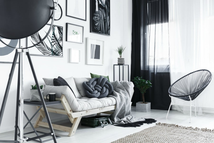 classic black white color combination living room and curtains