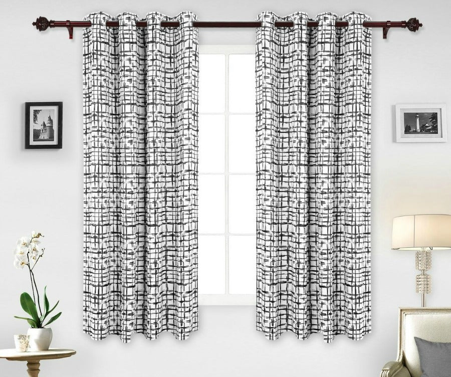 beautiful checkered pattern curtains by small art, white wall, green pattern white voile curtains