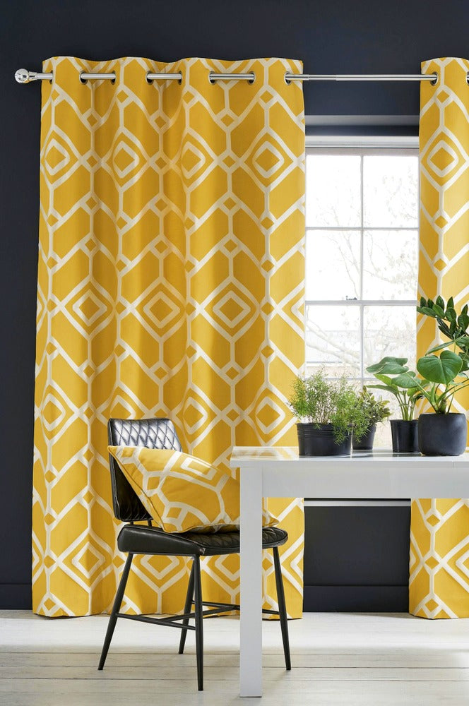 orange rectangle patterned curtain by deconovo