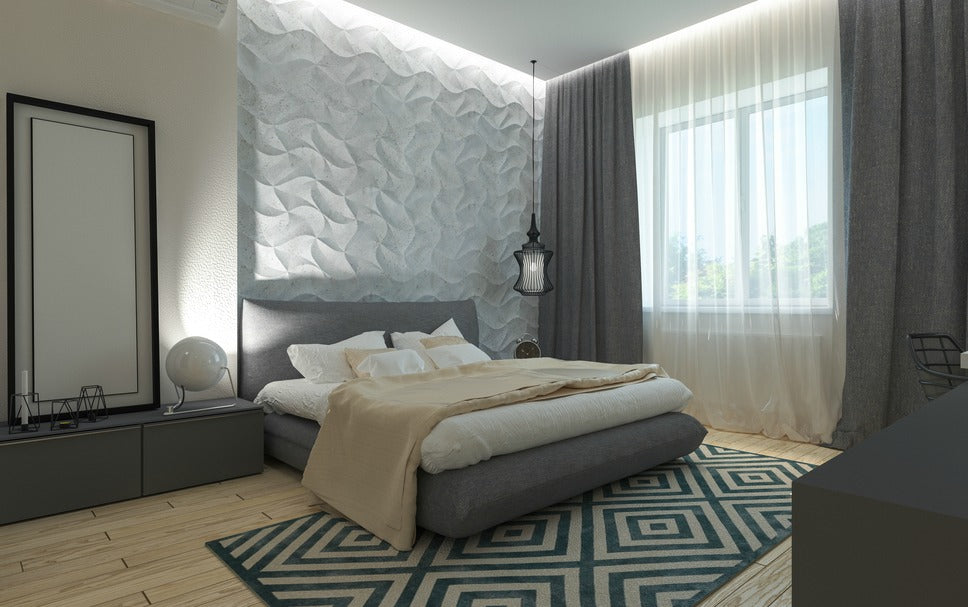 restful shades and minimize busy patterns. for bedroom