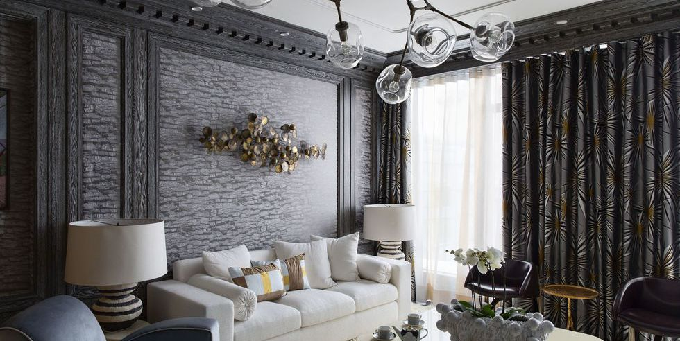 dark, patterned curtains create a mood.