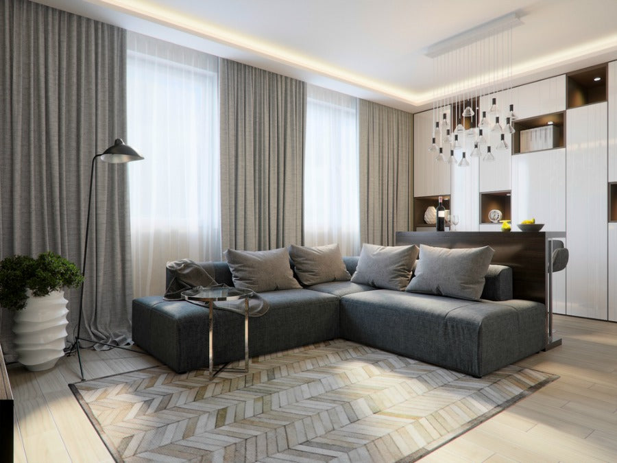 natural living room design with couch and curtains
