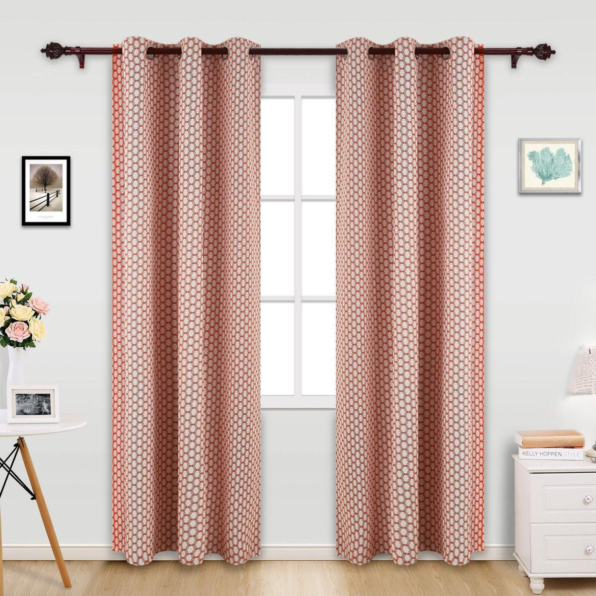 red circle patterned curtain
