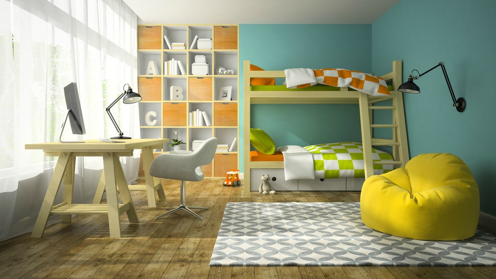 A brightly lit room is essential for children's activities, with sheer curtains, wooden decorations and neutral colors
