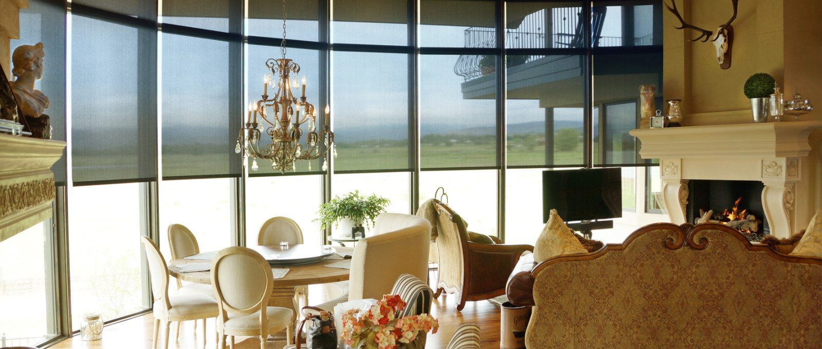 Solar shades minimize heat gain without blocking light or a view.