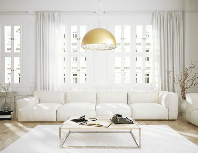 Pattern and Texture White Living Room with White Curtains