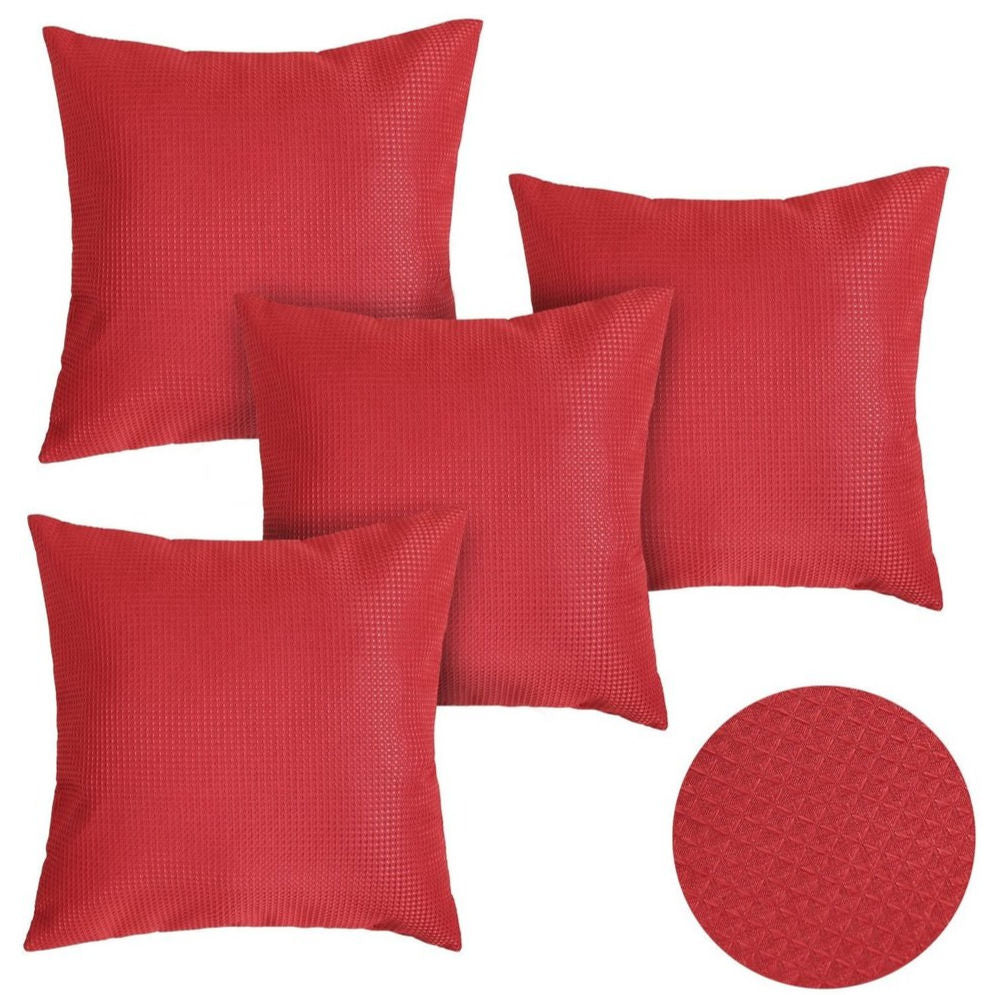 red pillow covers with a raised pattern
