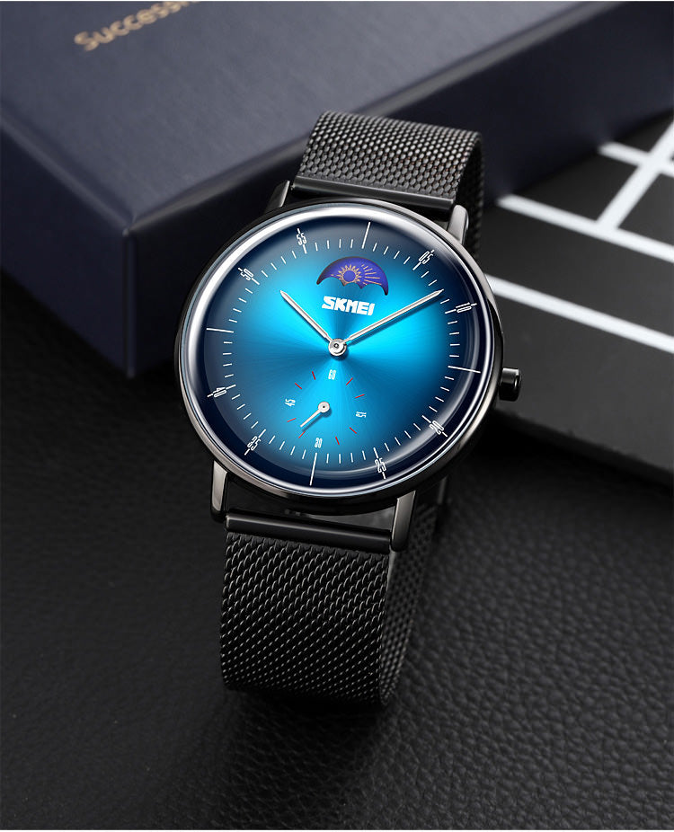 SKMEI 9245 Personalized Moonphase Watch for Men IP67 w/ Stainless Steel Strap